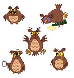 Set isolated emoji character cartoon owl with vector