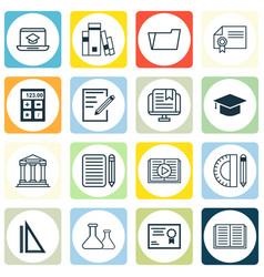 Set of 16 school icons includes library taped vector