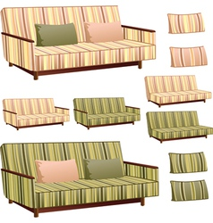 Sofa cream and green stripped vector image vector image