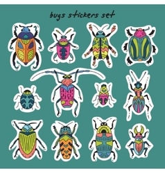 Sticker set of bugs vector