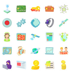 Telecommunications icons set cartoon style vector