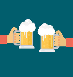 Two men toasting glasses of beer flat vector