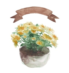 Yellow flower in a flower pot beige ribbon set on vector image vector image