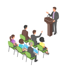 Isometric business presentation or political vector