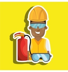 Worker fire extinguisher glasses vector