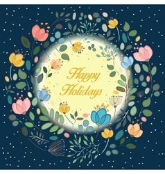 Floral ring in the moonlight happy holidays vector