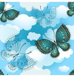 Seamless spring pattern with butterflies vector image