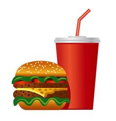 hamburger and cola icon vector image
