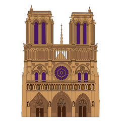 Notre dame de paris cathedral france isolated vector