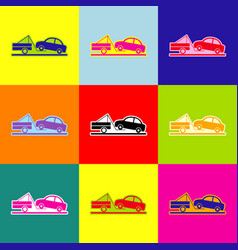 tow truck sign pop-art style colorful vector image