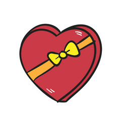 big red heart with a bow on white background vector image