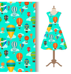 Dress fabric pattern with air ballons vector