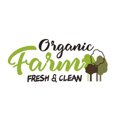 Organic farm typography emblem lettering and vector