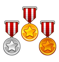 Military medals with stars vector