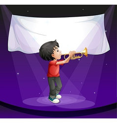 A boy performing at the stage with an empty banner vector