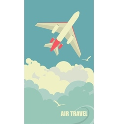 The plane flies against the sky vector