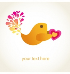 Cute romance bird with heart vector