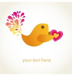cute romance bird with heart vector image
