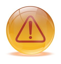 3D glass sphere warning icon vector image