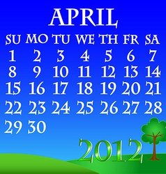 April 2012 landscape calendar vector
