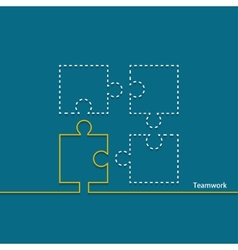 Modern teamwork background puzzle icons vector