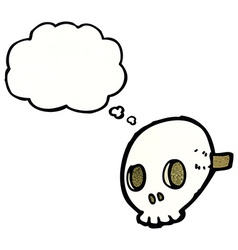 Cartoon skull mask with thought bubble vector