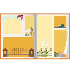 Paper design withh buildings and balloon vector image