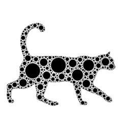 dotted cat silhouette vector image