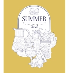 Summer food vintage sketch vector