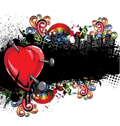 Heart with grunge and floral vector