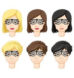 Different people try on test-glasses vector