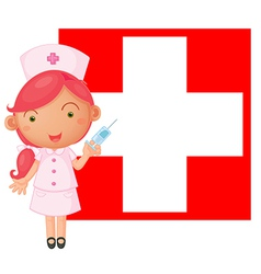 A nurse with an injection in front of the vector image vector image