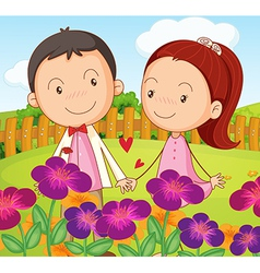 A sweet couple at the garden in the hilltop vector image vector image