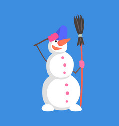 Alive classic three snowball snowman doing vector