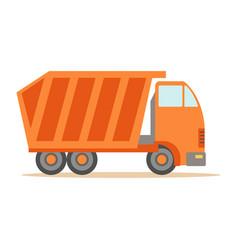big heavy orange truck part of roadworks and vector image