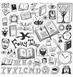 Books doodles set vector