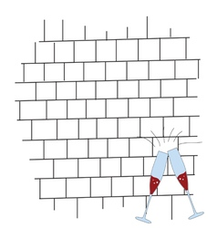 Brickwall with glass color vector