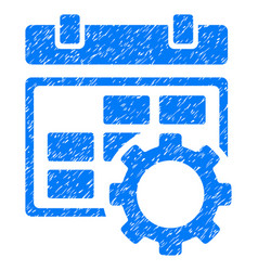 Calendar settings gear grunge icon vector