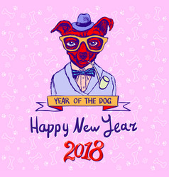 chinese new year 2018 year of dog design chinese vector image
