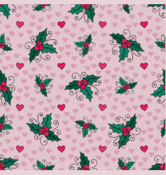Christmas seamless background with mistletoe and vector