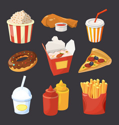 Collection of fast food pictures in cartoon vector