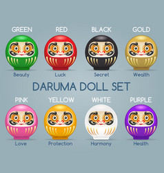 Colored japan daruma monk dolls vector