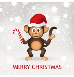 Cute chimpanzee little monkey with santa hat merry vector