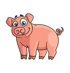 Cute pink piggy in cartoon style vector image vector image