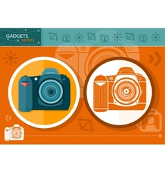 Digital camera in frame on orange background vector