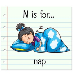 Flashcard letter n is for nap vector