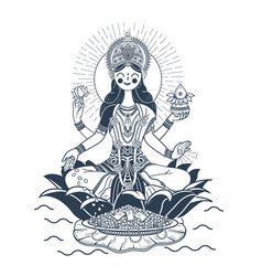 godess laxmi silhouette vector image
