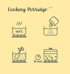 Graphic info of cooking porridge in pot vector