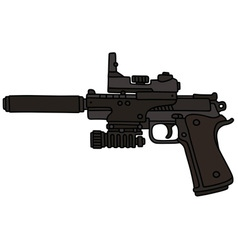 Handgun with an optical device vector