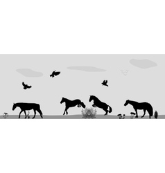 Horses jumping birds fly in nature vector